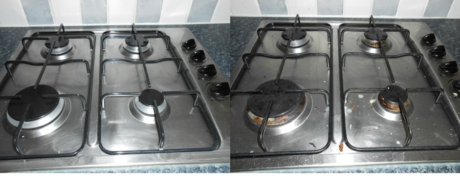 Clean and dirty gas hob. Is this wear and tear or should some deposit be kept